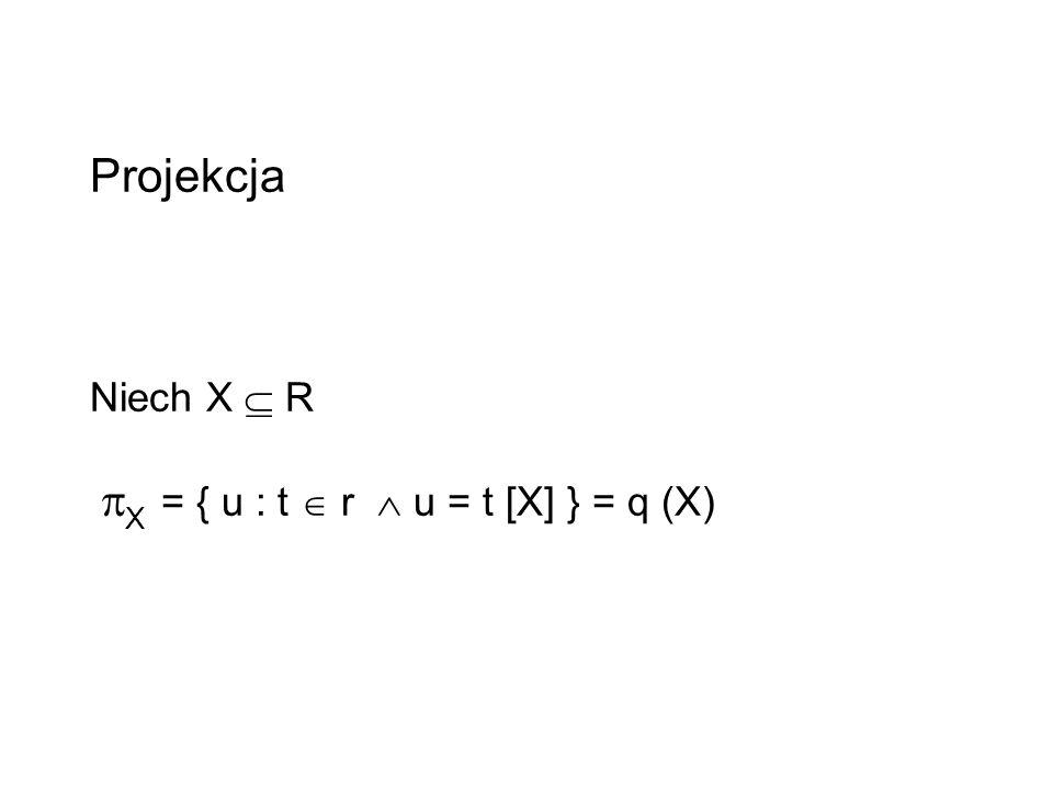 Projekcja Niech X  R X = { u : t  r  u = t [X] } = q (X)